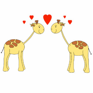 Two Facing Giraffes with Hearts. Cartoon. Standing Photo Sculpture