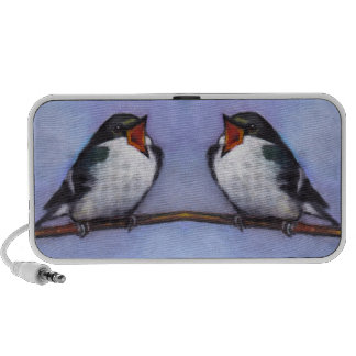 Two Fat Little Tree Swallows: Oil Pastel Painting Mp3 Speaker