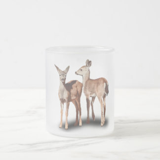 TWO FAWNS FROSTED GLASS COFFEE MUG