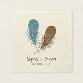 Two Feathers Boho Wedding Reception Disposable Serviettes