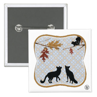 Two Fectching Foxes 15 Cm Square Badge