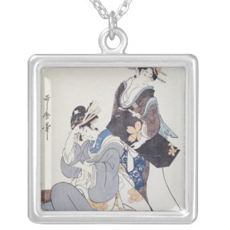 Two Female Figures Silver Plated Necklace