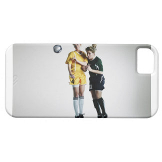 Two female soccer players in mid air heading case for the iPhone 5