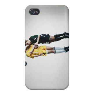 Two female soccer players in mid air heading iPhone 4 case