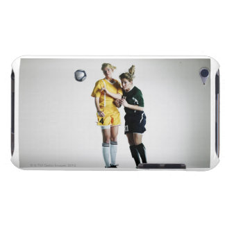 Two female soccer players in mid air heading iPod touch cover