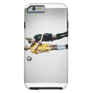 Two female soccer players in mid air heading tough iPhone 6 case