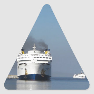 Two Ferries In Greece Triangle Sticker