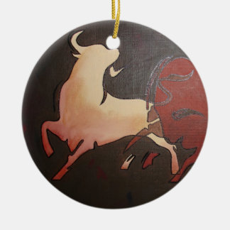Two Fighting Bulls Round Ceramic Decoration