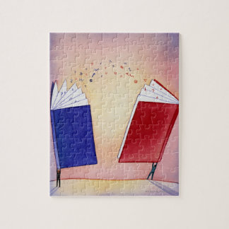 Two figures holding books above heads; symbols jigsaw puzzle