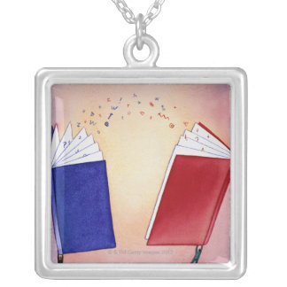 Two figures holding books above heads; symbols square pendant necklace