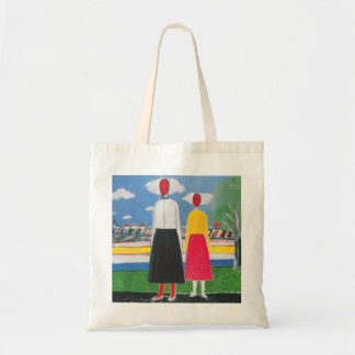 Two Figures in a Landscape by Kazimir Malevich Tote Bag