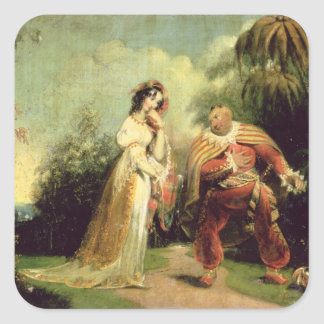 Two figures in Turkish costume in an Eastern lands Square Sticker
