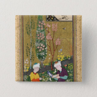 Two Figures Reading and Relaxing in an Orchard 15 Cm Square Badge