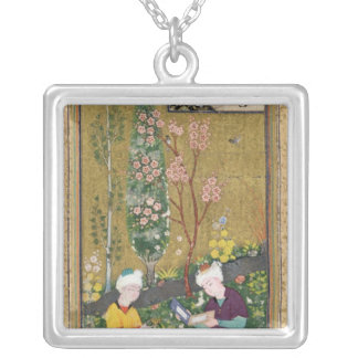 Two Figures Reading and Relaxing in an Orchard Custom Necklace