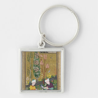 Two Figures Reading and Relaxing in an Orchard Silver-Colored Square Key Ring