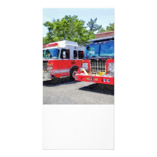Two Fire Engines in Front of Firehouse Photo Greeting Card