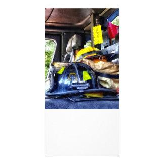 Two Firefighter's Helmets Inside Fire Truck Photo Card