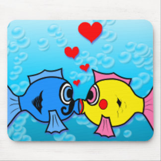 Two Fish Kissing, Underwater Scene Mouse Mat