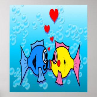 Two Fish Kissing, Underwater Scene Poster