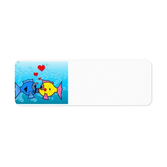 Two Fish Kissing, Underwater Scene Return Address Label