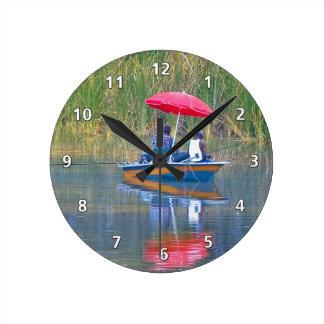 Two Fishermen at the Lake Round Clock