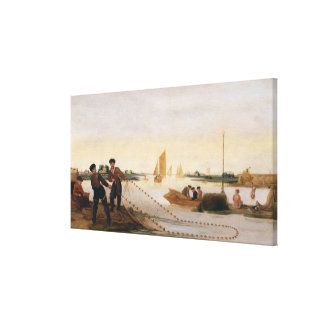 Two Fishermen Pulling in their Nets Stretched Canvas Print