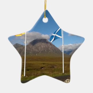 two flags of Scotland Ceramic Star Decoration
