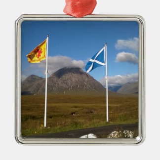 two flags of Scotland Silver-Colored Square Decoration