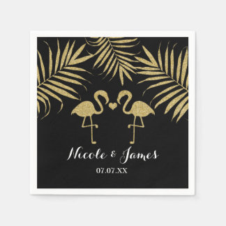Two Flamingos Love Black & Gold Elegant Napkins Disposable Napkins