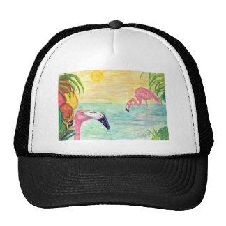 Two Florida Flamingos Watercolor Art Cap