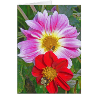 """TWO FLOWERS AND TWO BEES"" NOTECARD NOTE CARD"