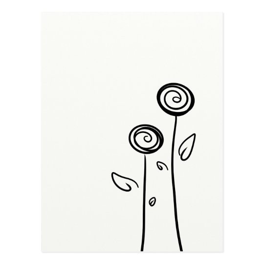 Two Flowers Simple Line Drawing Postcard