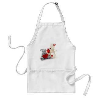 Two Fluffy Teddy Bears On White Background Standard Apron