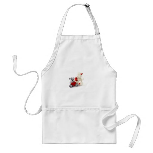 Two Fluffy Teddy Bears On White Background Aprons