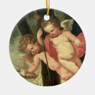 Two Flying Cherubs, holding the Crown of Thorns an Round Ceramic Decoration