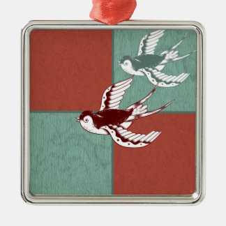 Two Flying Sparrows Birds Red Blue Color Blocks Christmas Ornament