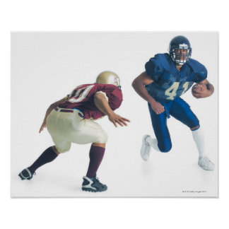two football players from opposing teams are poster