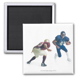 two football players from opposing teams are square magnet