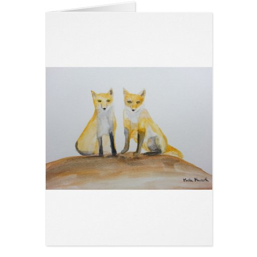 Two foxes card