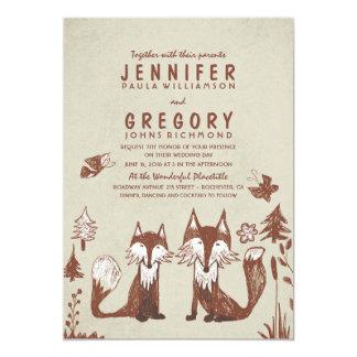 Two Foxes Woodland Wedding 13 Cm X 18 Cm Invitation Card