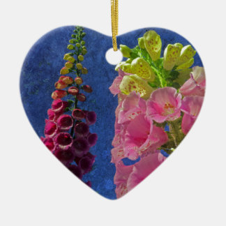 Two Foxglove flowers with textured background Ceramic Heart Decoration