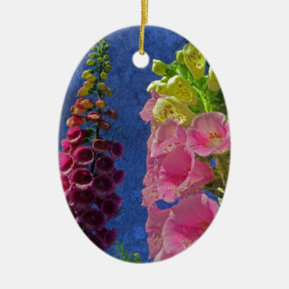 Two Foxglove flowers with textured background Ceramic Oval Decoration