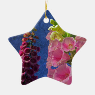 Two Foxglove flowers with textured background Ceramic Star Decoration