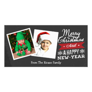 Two Framed Merry Christmas Chalkboard Photo Card Template
