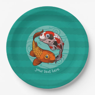 Two Friendly Koi Carp Swimming Cartoon With Text 9 Inch Paper Plate