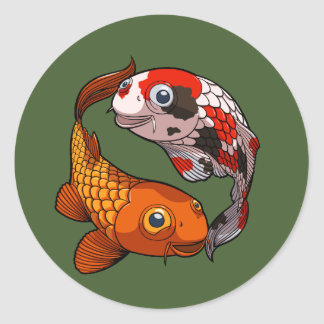 Two Friendly Koi Carp Swimming in a Circle Cartoon Classic Round Sticker