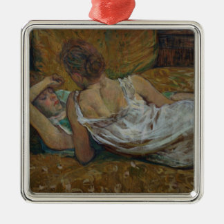 Two friends (pastel) Silver-Colored square decoration