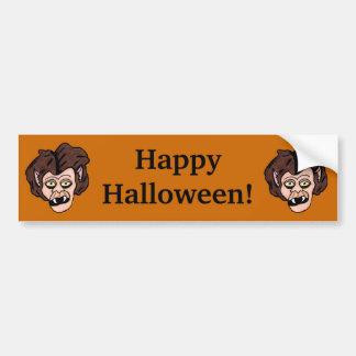 Two Fun Cartoon Halloween Werewolf Heads on Orange Bumper Sticker