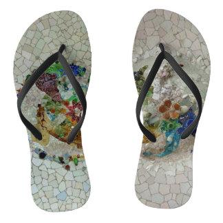Two Gaudi Mosaics Flip Flops