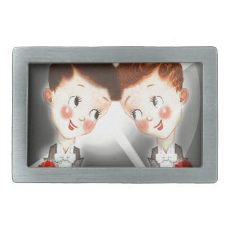 Two Gay Men Couple In Tuxedos Adorable Vintage Belt Buckle